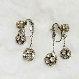 5/$25 Vintage Earrings Clip On Dangle Silver Tone